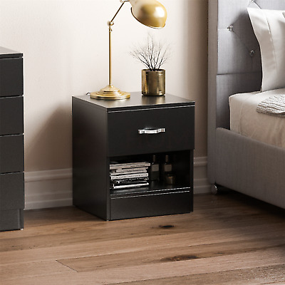 Riano Bedside Cabinet Black 1 Drawer Metal Handles Runners Bedroom Furniture