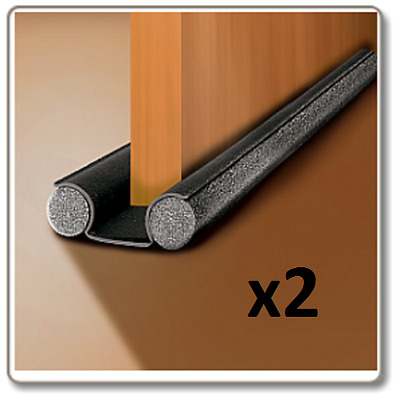 2x Twin Draught Excluder Double Sided Under Door Insulation Seal 90cm Cut 2 Size