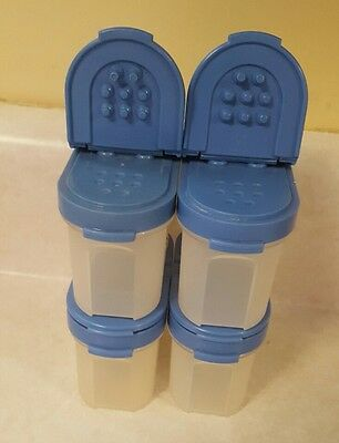 Tupperware set of 4 small spice storage containers BLUE 1/2cup