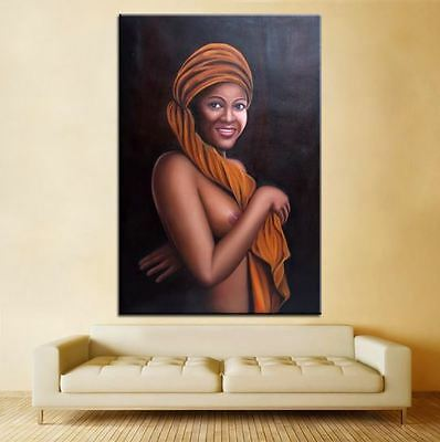 African Diva Naked women portrait Oil Painting on Canvas wall art decor 28x40""