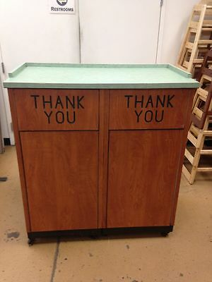 Heavy Duty Dual Trash Can Cabinet w/ Liners on Casters