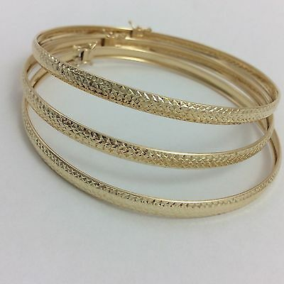 Large 14K Yellow Gold 3 Bangle Bracelets