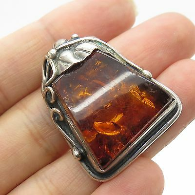 Vtg 925 Sterling Silver Real Amber Jemstone Handmade  Unfinished Jewerly
