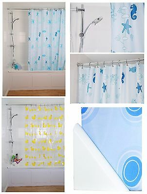 Croydex Shower Curtain Machine Washable With 12 Metal Rings Hooks Weighted Hem