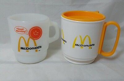 Vintage Fire King McDonald's McDonalds Good Morning Coffee Cup Mug + TRAVEL MUG