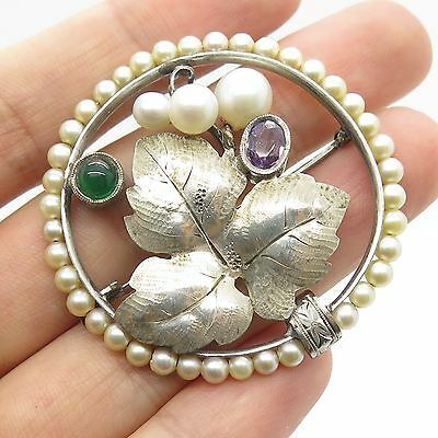 Antq 925 Sterling Silver Real Pearl Multicolor Gemstone Floral Pin Brooch