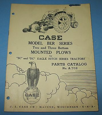 1952 J I Case Dealer Parts Catalog # A 702 2 & 3 Bottom Mounted Plows Tractor