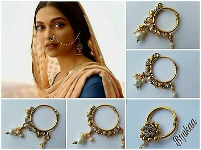 Indian Pearl Nath Nose Ring Chain Bridal Party Hoop Indian Bollywood Jewelry