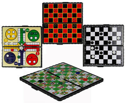 Magnetic Travel Board Games Set Of 4 Chess Ludo Snakes And Ladders Draughts Game
