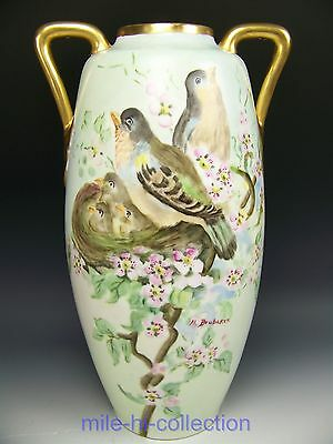 """Austria Hand Painted Bird Family With Apple Blossom 16"""" Handled Vase"""