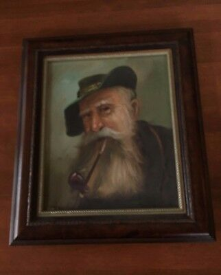 Old Man with a Pipe Oil on Canvas Original Signed Framed