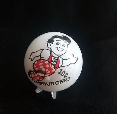 FRISCHS Big Boy Marble Red White Black Collectible w Stand Advertising Hamburger