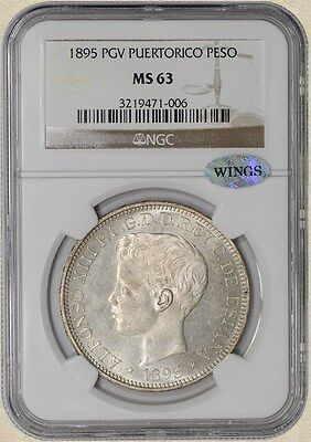 1895 PGV Puerto Rico Peso MS63 NGC ~ WINGS
