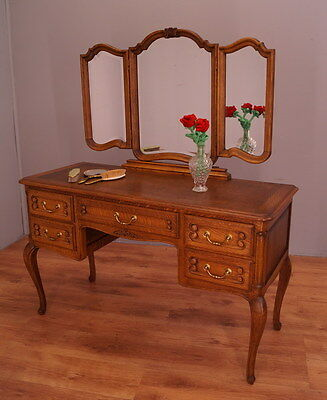 1649 !! Amazing Oak Dressing Table With Mirror In Louis Xv Style !!