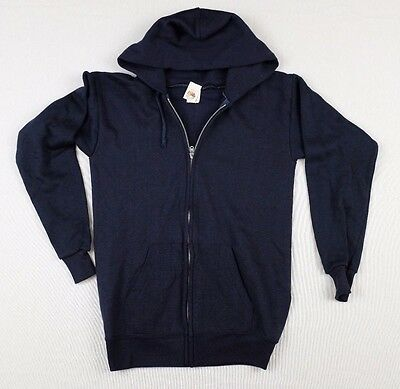 Vtg 1970s Fruit of the Loom Navy Blue Hoodie Youth XL sweatshirt deadstock