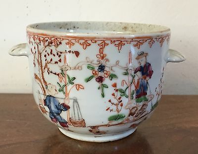 Antique 18th c. Chinese Export Porcelain Famille Rose Handled Bowl Cachepot