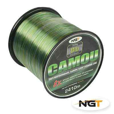 New NGT Camou Top Performance Camouflage Carp Coarse Fishing Line Bulk Spools