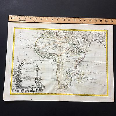 Rare Large 1762 Antique Original Map Of Africa Beautiful Cartouche And Colors