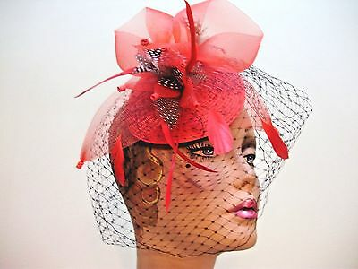 FASCINATOR HAT Ladies Cocktail RED BLACK Derby Acrylic  Hats