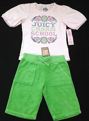 NWT Juicy Couture New & Gen. Girls Age 8 Green Cotton Tracksuit Pants & T-Shirt