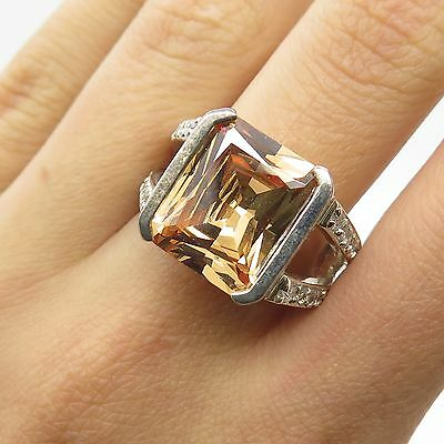 925 Sterling Silver Cognac White C Z Large Ring Size 8