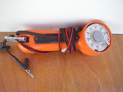 Vintage Orange Bell Systems Western Electric Lineman Test Phone Handset w/Leads