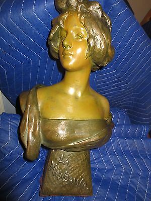 "Antique Vintage Spelter Sculpture Metal Statue Bust Lady Women 17"" Large Heavy"
