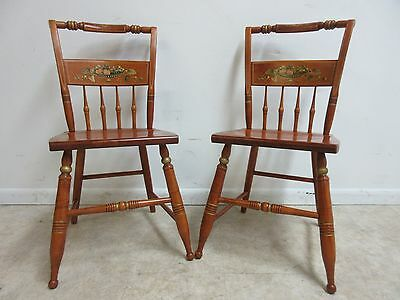 Pair Bent Brothers Hitchcock Paint Style Dining Room Side Chairs  D