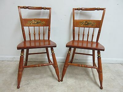 Pair Bent Brothers Hitchcock Paint Style Dining Room Side Chairs C