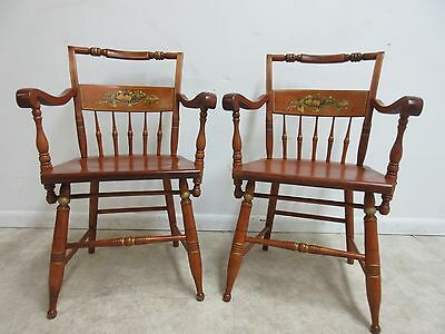 Pair Bent Brothers Hitchcock Paint Style Dining Room Arm Chairs A