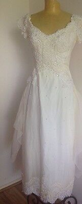 HOUSE OF BIANCHI VINTAGE WEDDING DRESS 60s/70's W MATCHING TULLE VEIL