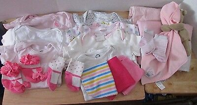 Lot of infant girl clothes 3M-9M bodysuits blankets Carter security Monkey toy