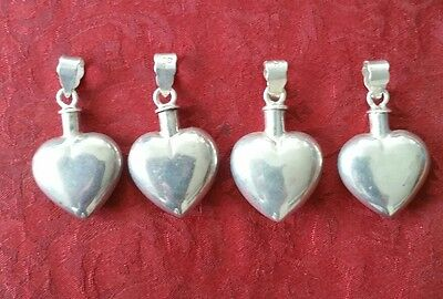 Vtg Sterling silver southwestern heart shape perfume bottle pendants lot 4! 925