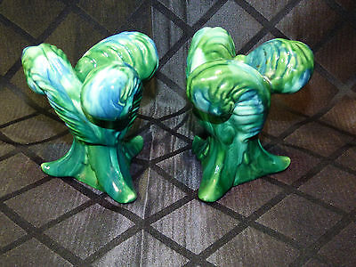 Pair Royal Haeger Feather Candle Sticks—Marbled Green & Blue