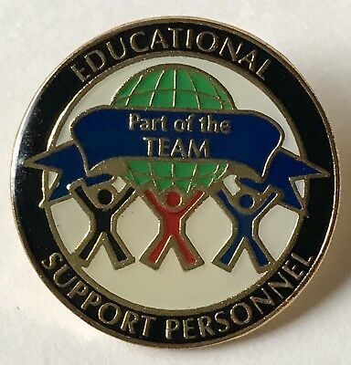 """""""EDUCATIONAL SUPPORT PERSONNEL"""" Globe Enamel Lapel Pins, Lot of 25, All New!"""