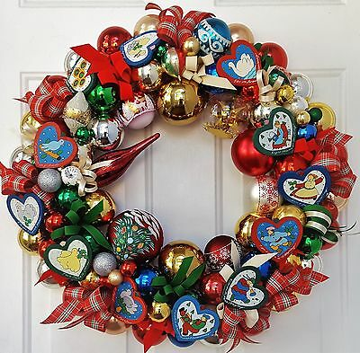 "12 Days of Christmas 22"" Glass & Wood Christmas Holiday Ornament Wreath Vintage"