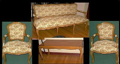 Vintage Carved Parlor Living Room French Sheraton Style 4 Piece Set