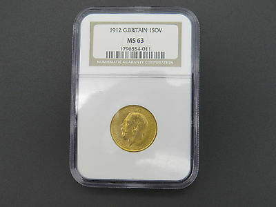 1912 Great Britain 1 Sovereign Gold Ngc Graded Ms 63 George V