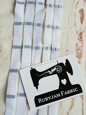 100 pack baby 0000 000 00 0 1 size clothing labels WHITE woven tags FREEPOST AU