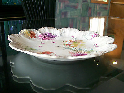 Antique Porcelain Hand Decorated Plate With Orange Poppies, Gold Edge