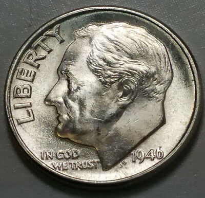 1946-D Roosevelt Silver Dime Choice Uncirculated First Year Issue - Free Ship