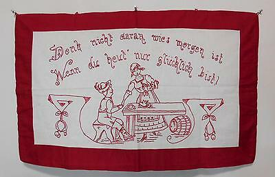 Vtg Antique Figural RedWork Embroidered Wall Hanging with German Saying