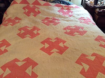 Beautiful Vintage Full Size Handmade Pink Quilt from the 1940s