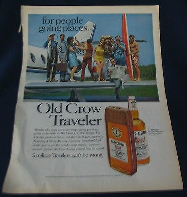 1968 Advertisement Old Crow Traveler Straight Bourbon Whiskey And Hunt's Catsup