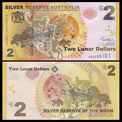 Australia  Two Lunar Dollars Silver Reserve To The Moon Uncirculted Bank Note