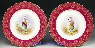 Pair Of 1890 Limoges Hand Painted Lady Portraits Floral In Gold Cabinet Plates