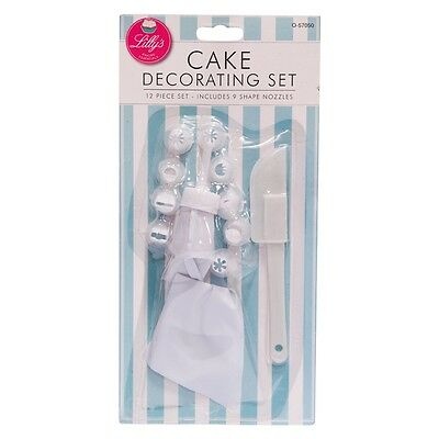 12 x Piece Decorating Icing Set for Cupcake Cake Buns with 9 Nozzles and Bag