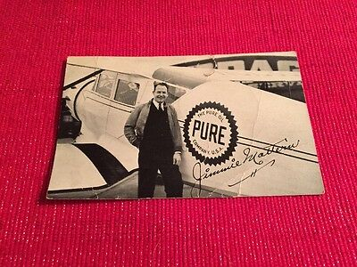 VNTG Advertising Post Card JIMMIE MATTERN Pilot World Records PURE OIL TIOLENE