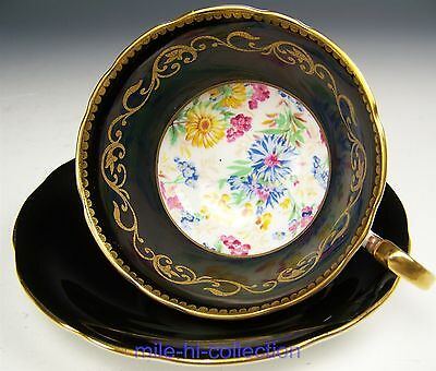 Aynsley Black Hand Painted Floral Tea Cup And Saucer Teacup