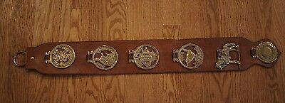 6 English Horse Brass Medallions set on a Large Leather Strap Equestrian